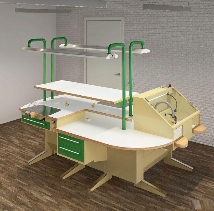 Puesto de trabajo para laboratorio dental con luz / en isla POP-TRENDY  3 ASTRA MOBILI METALLICI