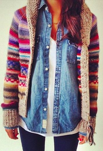 layering. warm jumper. jeans blouse.