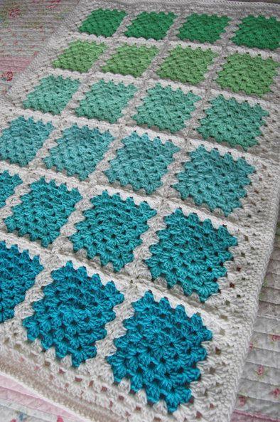 Crochet Granny Square Baby Afghan Blanket - Aquaholic - Aquas and Greens on White