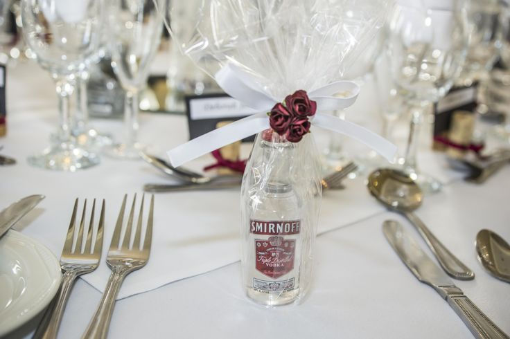 An idea instead of the original boxed favours - a miniature size alcohol bottle.