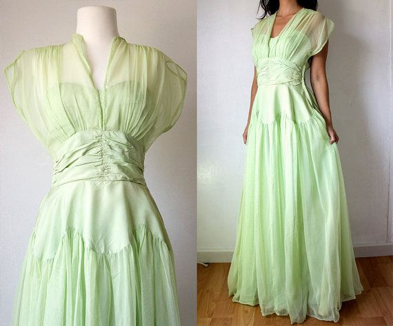 30s Mint Sorbet Gauze Evening Gown/ XS Small Taffeta Tulle Lime Green Hollywood Glamour Dress via Etsy
