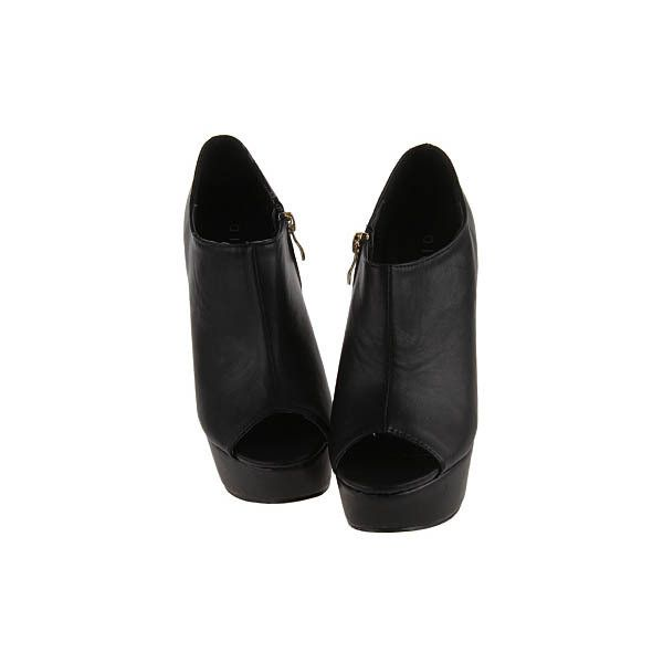 Peep Black Wedge-soled Shoes (€4,03) ❤ liked on Polyvore featuring shoes, boots, ankle booties, heels, wedges, black boots, wedge heel boots, heeled booties, peep toe booties and black ankle booties