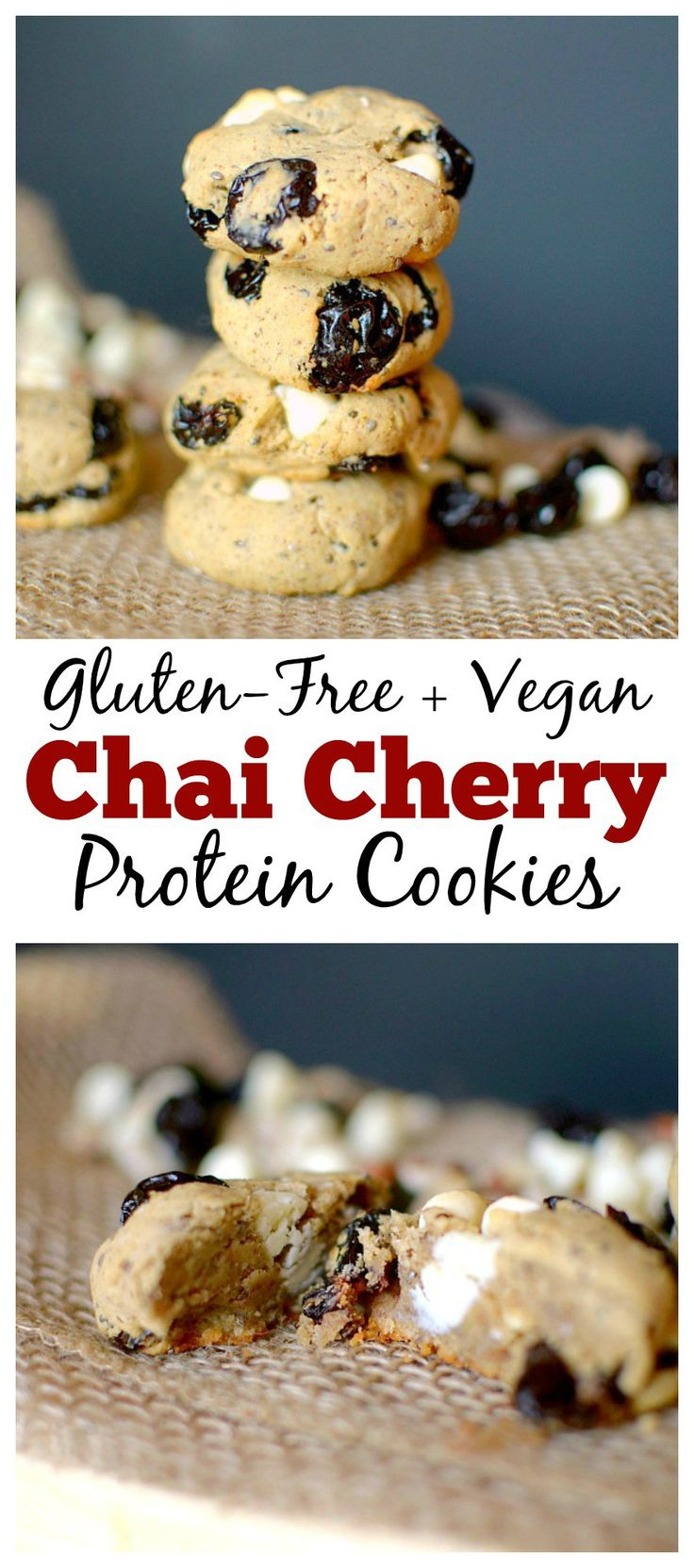 Craving something sweet after a tough workout? Make these Hazelnut Chai Cherry Vegan Protein Cookies! Only six ingredients and less than 20 minutes to make!