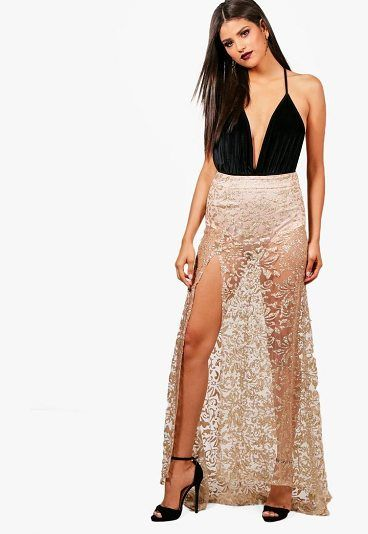 Maya Glitter Mesh Baroque Fishtail Sheer Maxi Skirt by Boohoo. Skirts are the statement separate in every wardrobe This season it's all about having fun with your hemline. Mix it up in minis, midis and maxis or go matchy-matchy and co-ordinate with a crop top. Push the boundaries in pleated pastels ... #boohoo #skirts