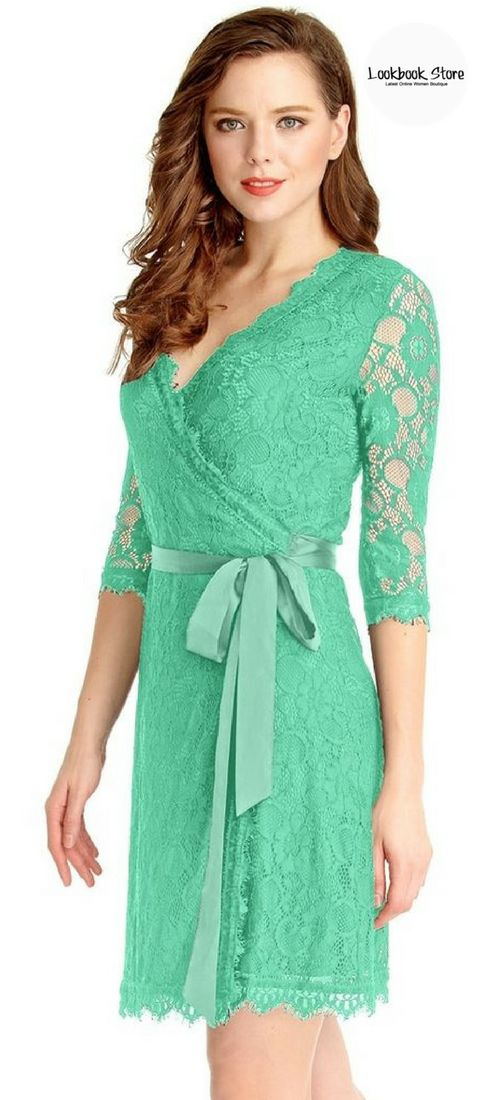 Let's Celebrate // Combine refreshing and classy in your outfit with this mint green lace overlay plunge wrap-style dress.