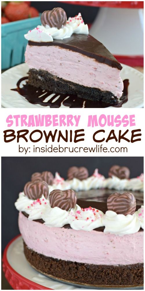 Homemade brownies topped with strawberry mousse and chocolate makes one impressive dessert!