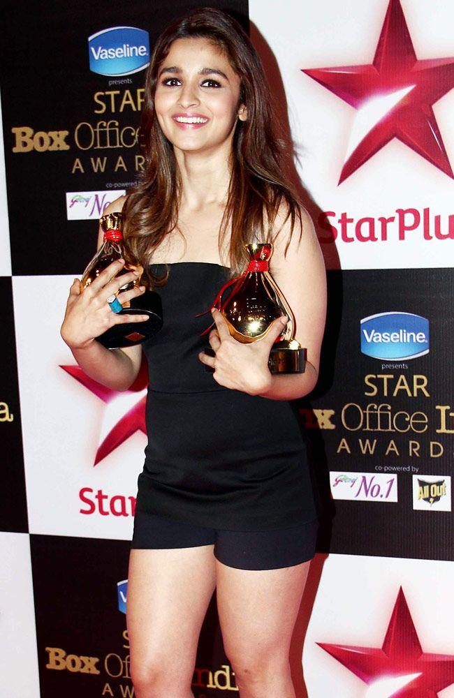 Alia Bhatt in a black Osman creation at STAR Box Office Awards. #Bollywood #Fashion #Style #Beauty #Sexy