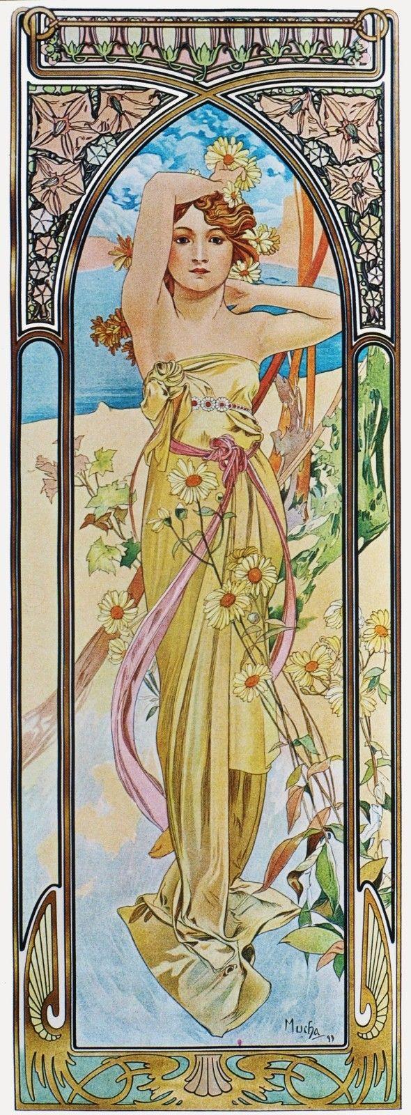 """Panneaux Décoratifs - Mucha - Série """"Les Heures du Jour"""" - Eclat du jour - 1899"""
