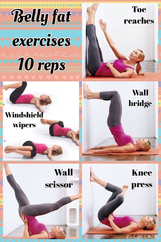 To lose belly fat, do the exercises shown in the pic 10 times each 5 times a wee...