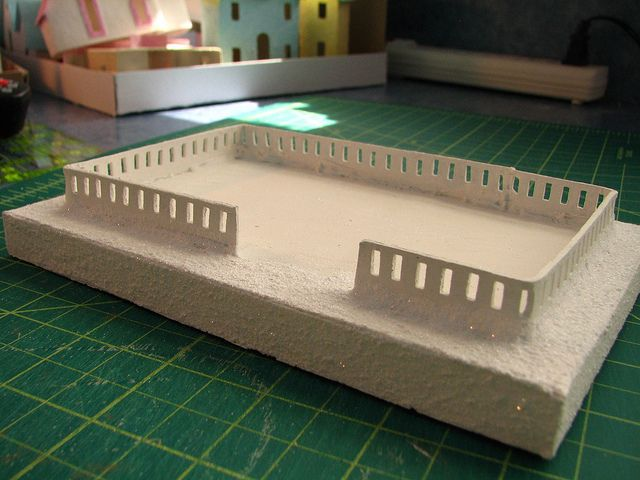 how to make paper fences for putz/glitter houses