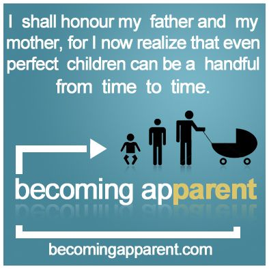 I shall honour my father and my mother, for I now realize that even perfect children can be a handful from time to time...
