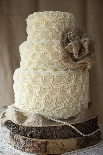 Rustic #wedding cake with #burlap by monica use a burlap look fondant mold instead of real burlap to avoid contamination