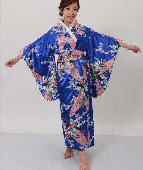 Hot selling Japanese Women's Silk Satin Kimono Evening Dress Yukata Flowers one size Royal blue H008