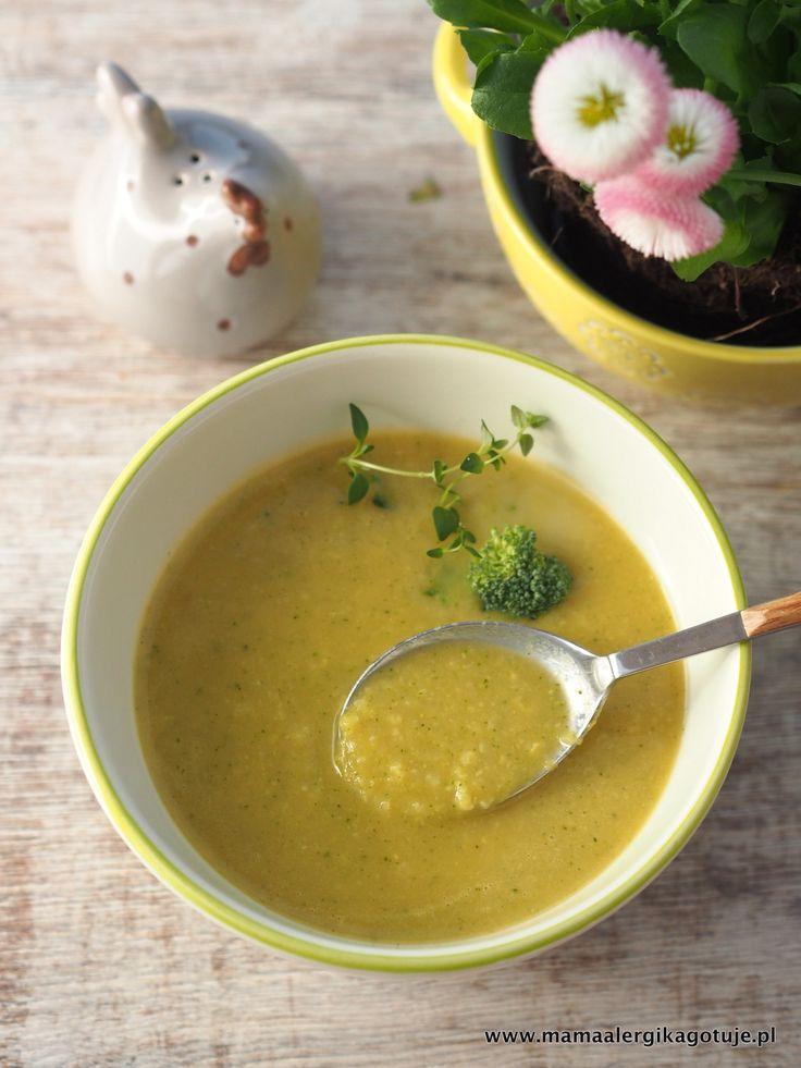 zupa warzywna z kasza jaglaną: brokuł, kalarepka, batat