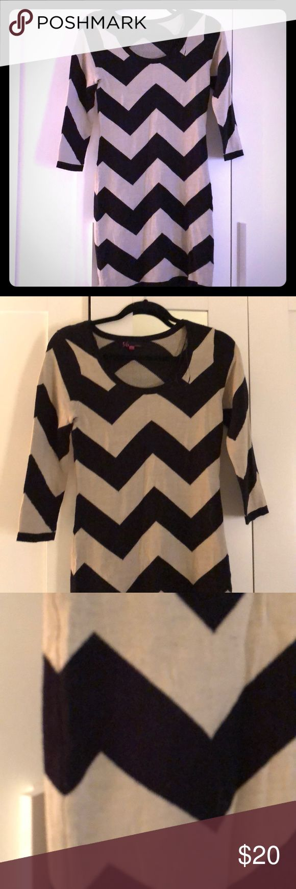 Cream/tan and black chevron sweater dress Cute and comfortable sweater dress! Dresses Long Sleeve