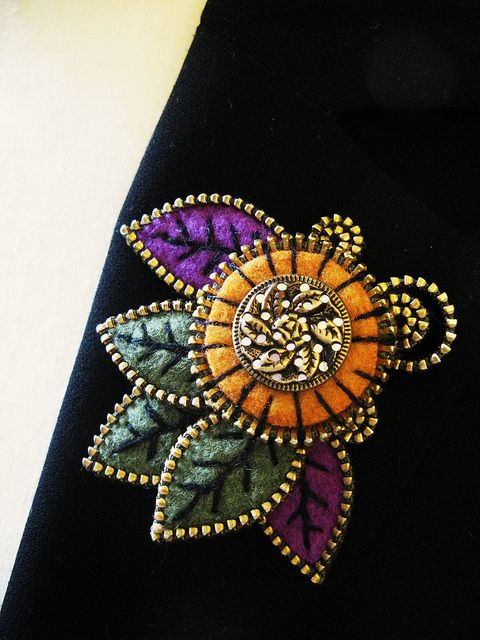 Abstract leaf and vintage button brooch