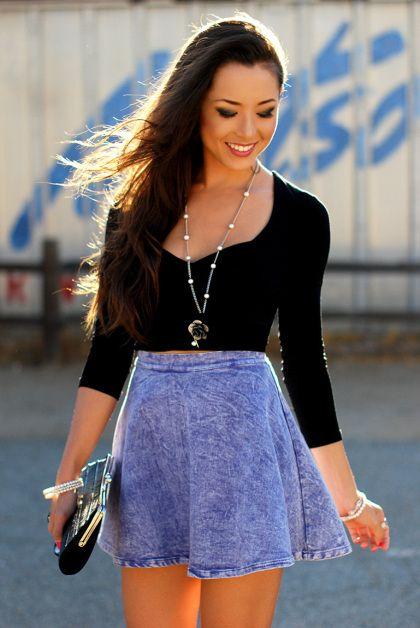 blusa negra falda de flores - Buscar con Google