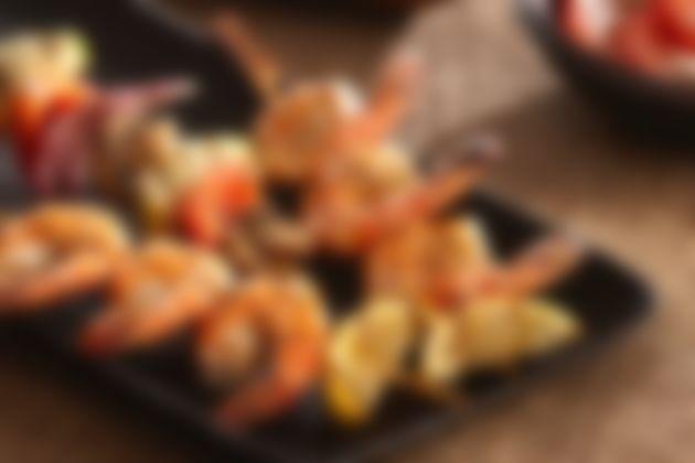 Grilled Lemon Pepper Shrimp & Vegetable Kabobs