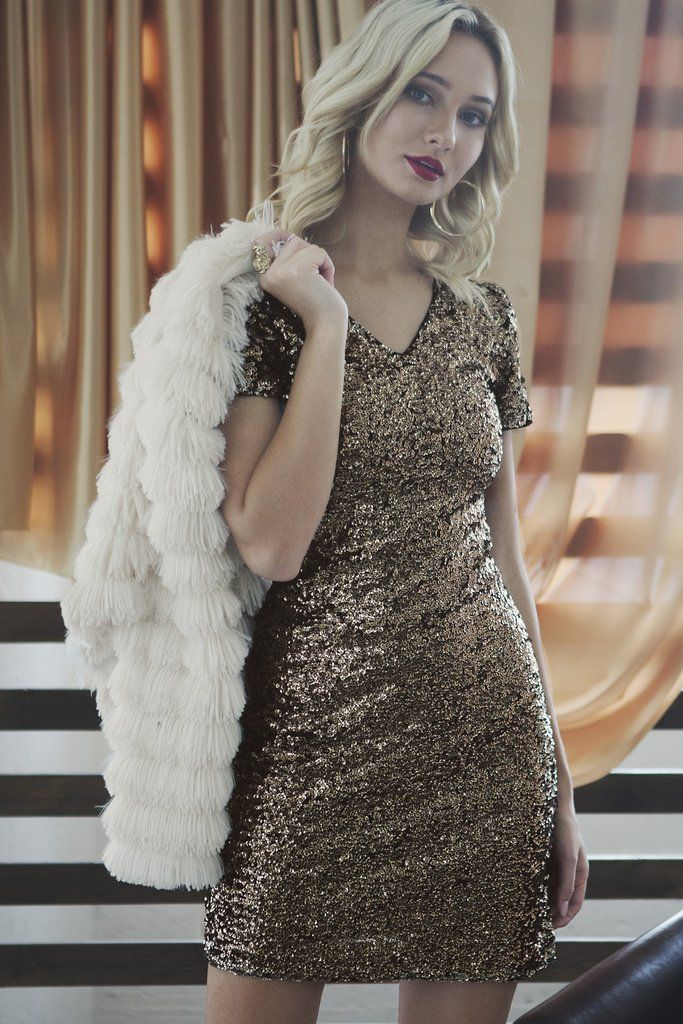 Gold Sequin Mini Dress   Cute Holiday Dress   Sequin Cocktail Dress – #sequin #dress