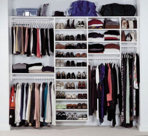 a typical design for a womans closet