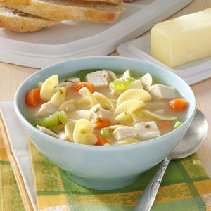 30 Minute Chicken Noodle Soup - chicken broth - cream of chicken soup - celery - carrots - onion - dried parsley flakes - reduced sodium chicken bouillon granules - egg noodles