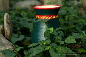green grass vase - hand painted clay pots