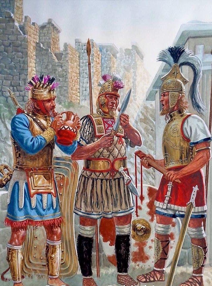 Agamenón, Diomedes y Menelao conferenciando durante la mañana posterior al saqueo de Troya, en obra del maese Rava. http://www.elgrancapitan.org/foro/viewtopic.php?f=87&t=16979&p=879620#p879147