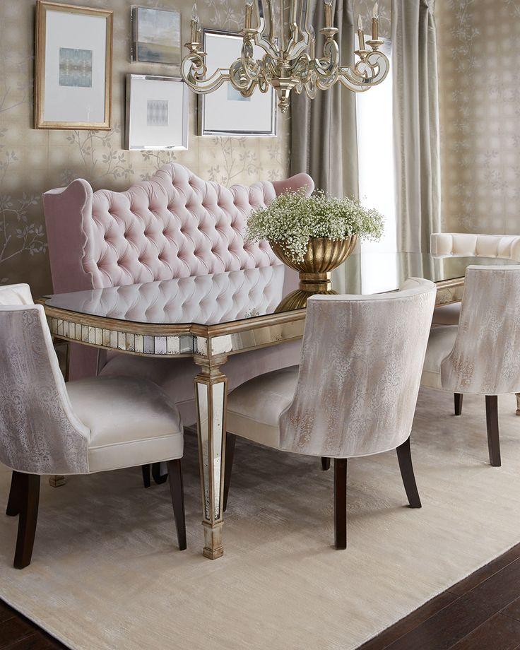Isabella Blush Banquette Tiffany ChairMirror Dining