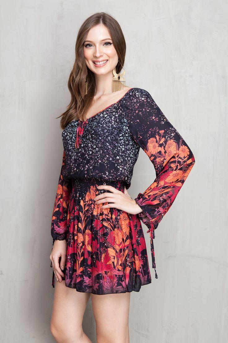 vestido com amarração estampado midnight   Dress to