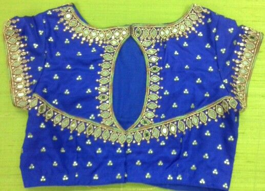 Pattu blouse with mirror work