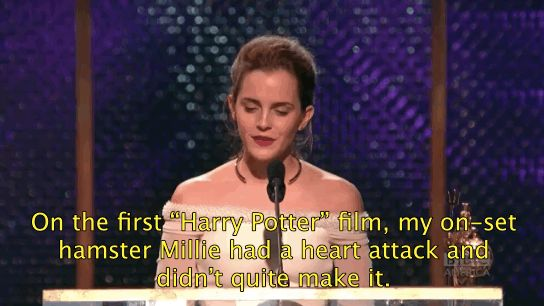 That time Emma dedicated her Britannia Award to a deceased pet hamster named Millie from the Harry Potter set. | 25 Times Emma Watson Killed It In 2014
