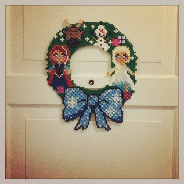 Frozen Christmas wreath hama perler beads by bostrup