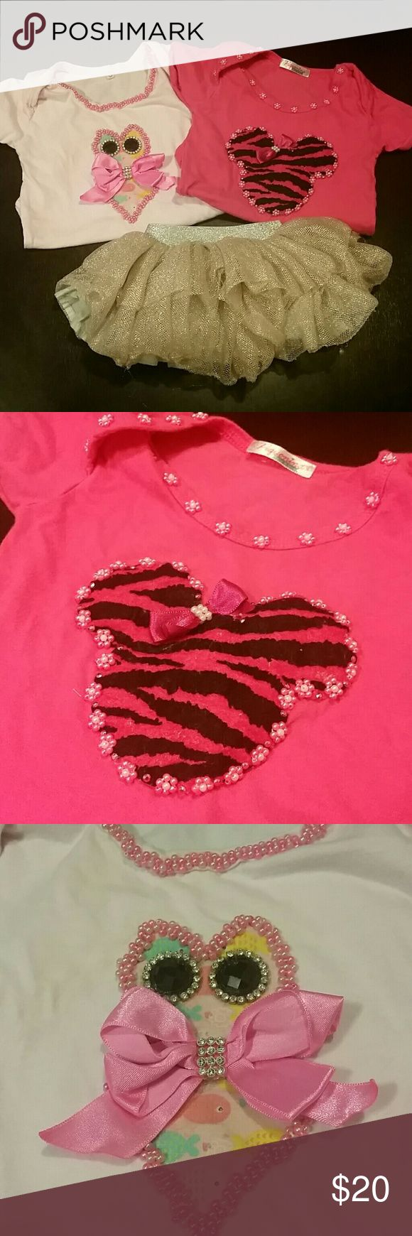 Customized onesies with tutu skirt. Customized onsies, mickey beaded with pink bow and zebra print, owl with pink bow ties and beaded neck and arms!! skirt is newborn size, onesies 0-3 unbranded Matching Sets
