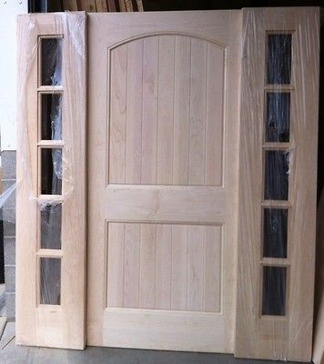 Solid Maple wood front exterior entry door with glass sidelights 83.5. Love the solid door design/style!!!