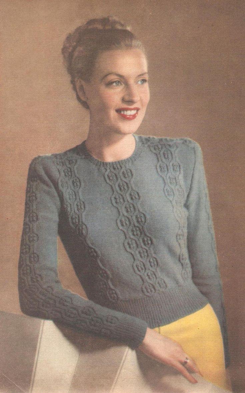 Vintage knitting free patterns, gratis breipatronen onder andere jaren 70 patronen: trui