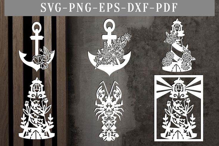 Summer paper cut bundle, papercut template, bundle of 6 beach svg cut files, anchor clip art, nautical dxf, silhouette cricut, pdf vector