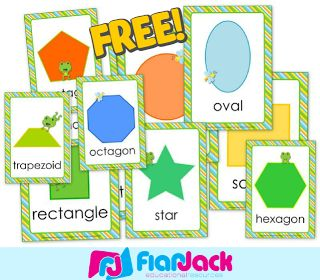 This free FlapJack resource contains bright frog-themed shape posters that include the following shapes - circle, oval, square, rectangle, pentagon, hexagon, octagon, heart, star, trapezoid, and triangle. A SPANISH VERSION IS INCLUDED! :)