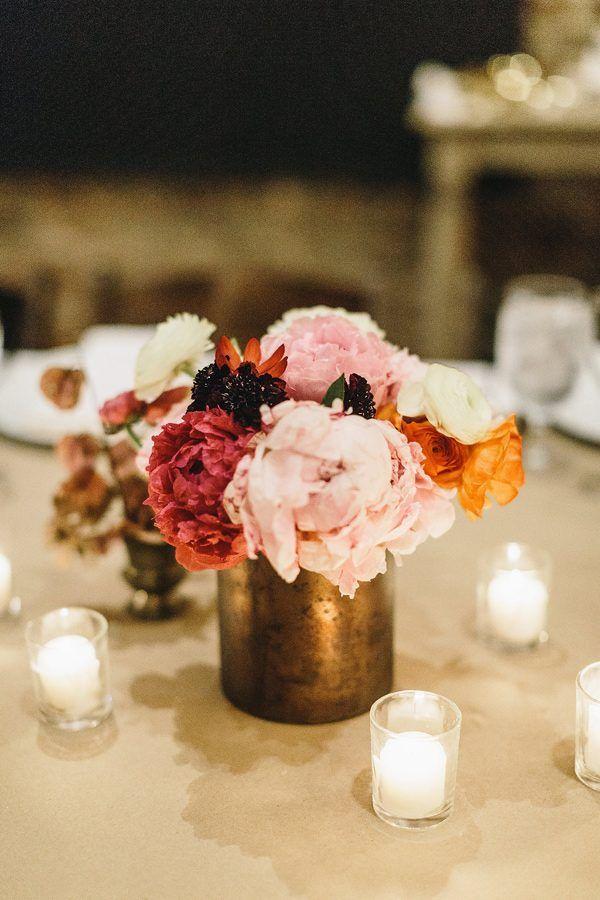 pink wedding centerpieces - photo by Mackensey Alexander Photography http://ruffledblog.com/modern-downtown-savannah-wedding