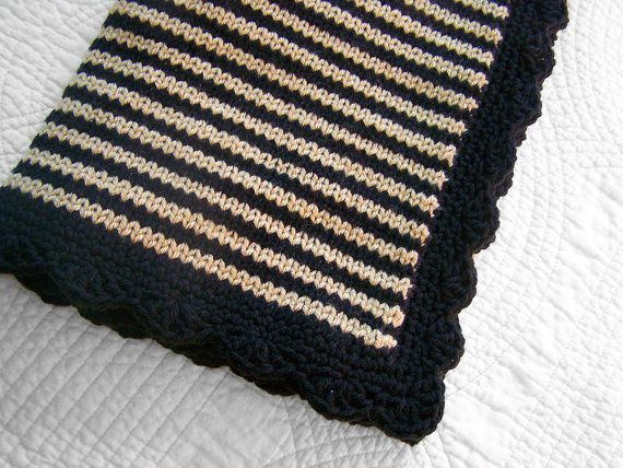 Knit Afghan Patterns In Strips : Black and beige stripes knit baby blanket by PinkyRoo on ...