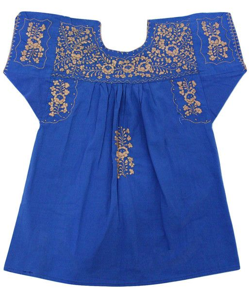 Blue Blouse with Gold Thread details - Handmade Embroidery - available at azucarmaria.com