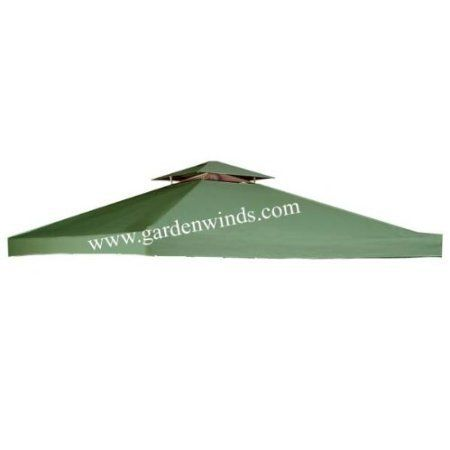 "Garden Winds Universal GREEN 10' x 10' Two-Tiered Replacement Gazebo Canopy by Garden Winds. $69.99. THE MOST HIGHLY RATED UNIVERSAL REPLACEMENT CANOPY ON THE MARKET!!!. Anti-rust brass grommet rings to ensure proper water drainage.. Industry leading 350-Denier fabric (on average 25% thicker than original canopies).. The top tier measures 36"" x 36"". The outer perimeter of the main canopy is 120"" x 120"".. Velcro straps allow easy installation and attachment to gazebo.. Garde..."