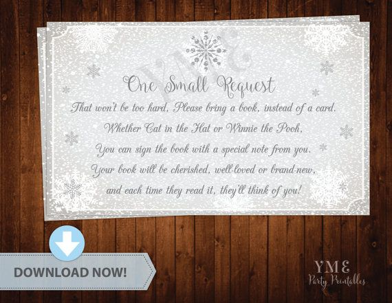 Baby Shower Book Request Card   Winter Wonderland Baby Shower   Snowflake  Baby Shower   Book