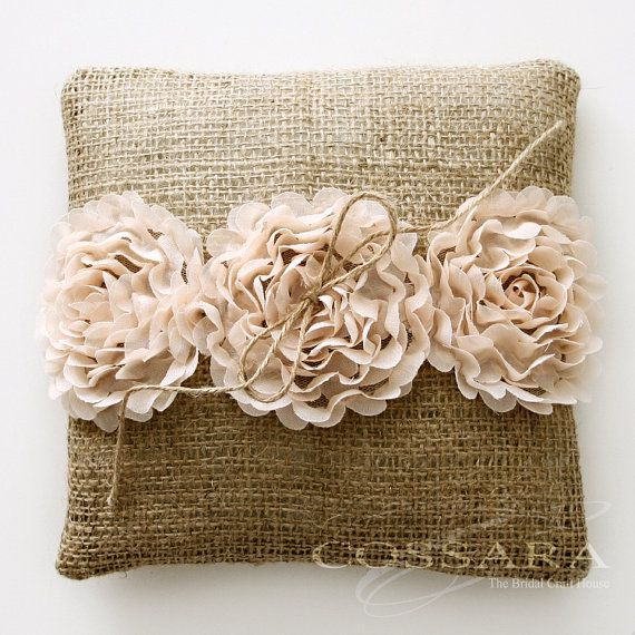 Rustic / Shabby Chic Burlap Ring Pillow with Ciffon Flower Embellishment / Barrier pillow / DIY Weddings / Vintage on Etsy, $16.90
