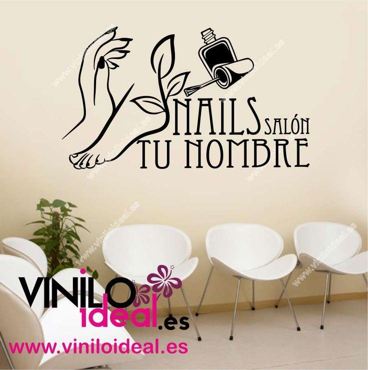 Vinilo decorativo peluquería y estética, adhesivos para pared, Nails decoración, vinilos para salón de belleza.