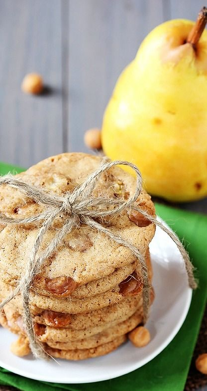 Caramel Pear Cookies | gimmesomeoven.com - maybe apples instead?