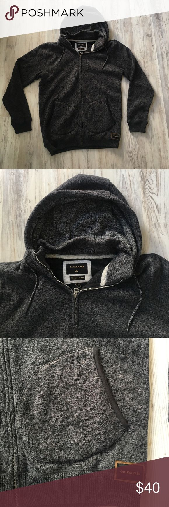 Quiksilver Zip Up Hoodie Multi Colored black and gray zip up hoodie from Quicksilver. Super cozy. Hoodie has a nice thick collar inner lining for extra warmth !! Quiksilver Sweaters Zip Up
