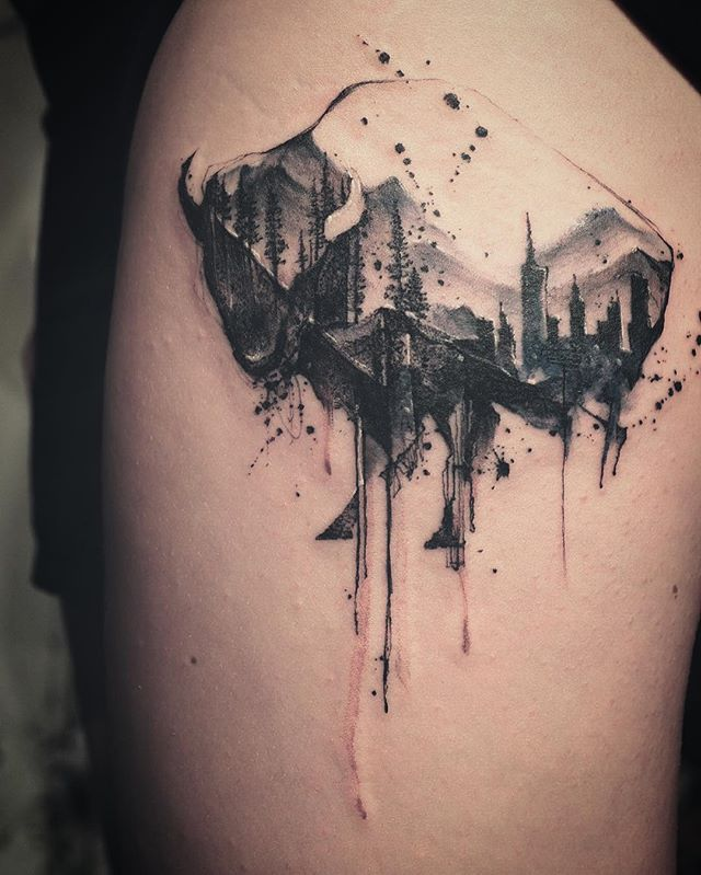 Line Art Tattoo Artists Near Me : Best ideas about buffalo tattoo on pinterest bison