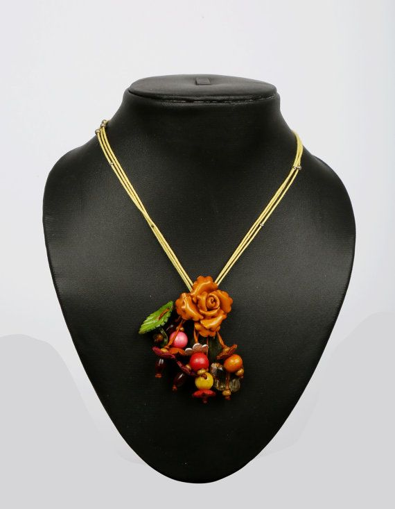 Leather Flower Necklace  Small by LeatherAX on Etsy