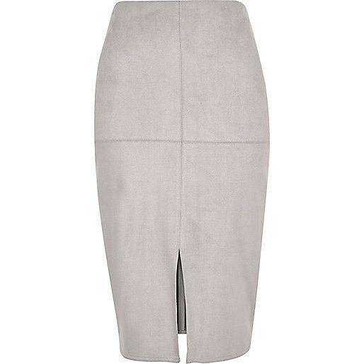 Grey faux-suede split front pencil skirt