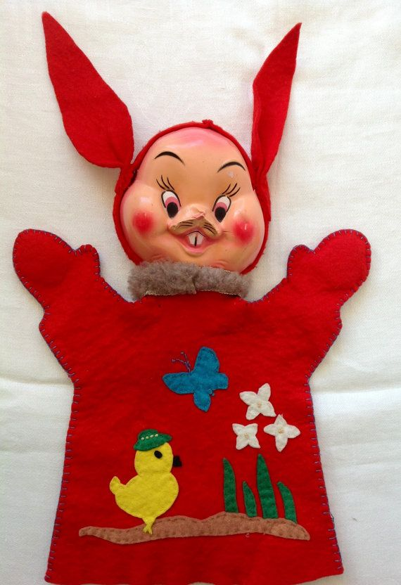 Crazy Bunny Vintage Hand Puppet By Camphobachee On Etsy
